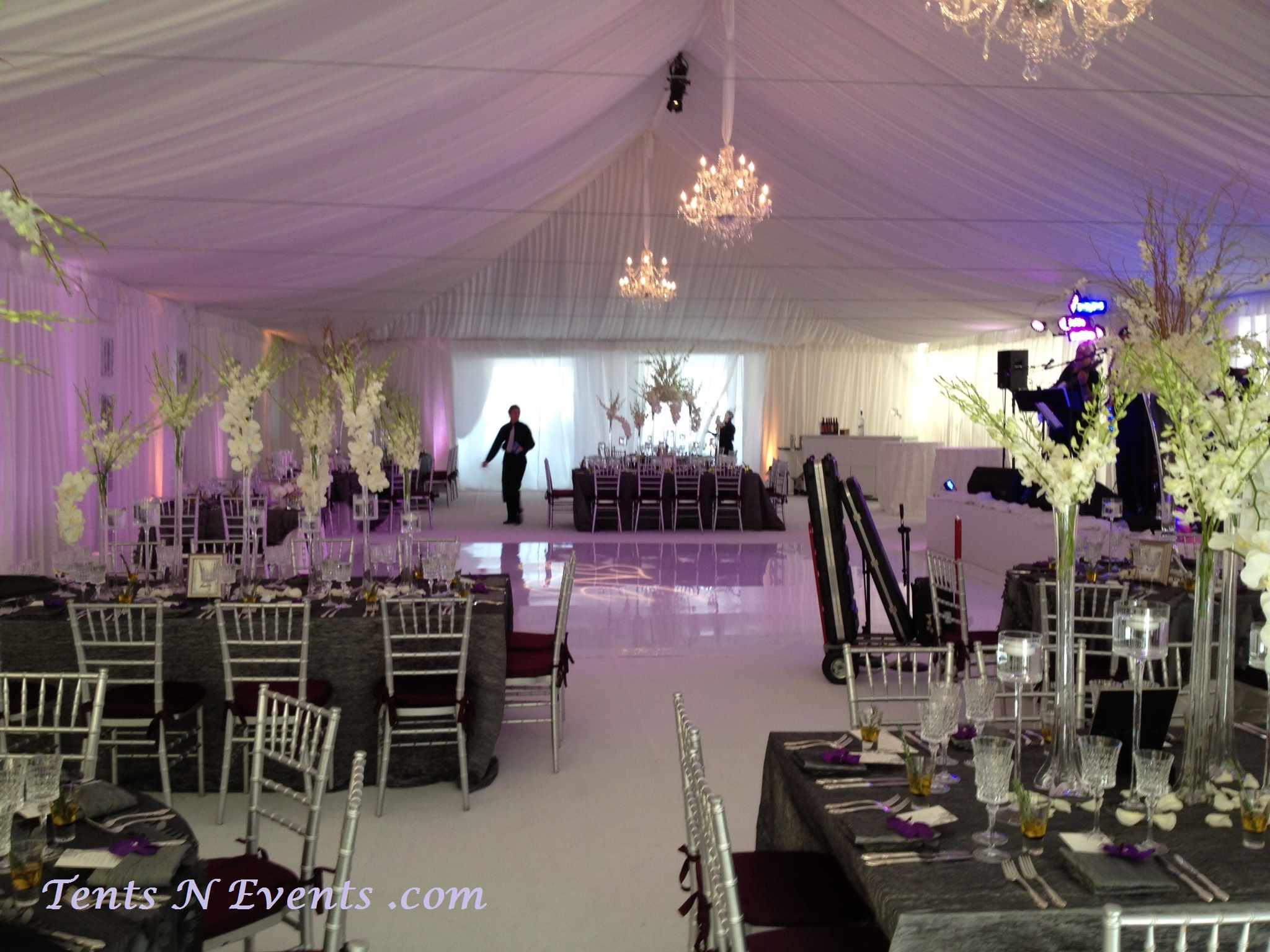 White Ceiling Liner with Perimeter wall Drapping -