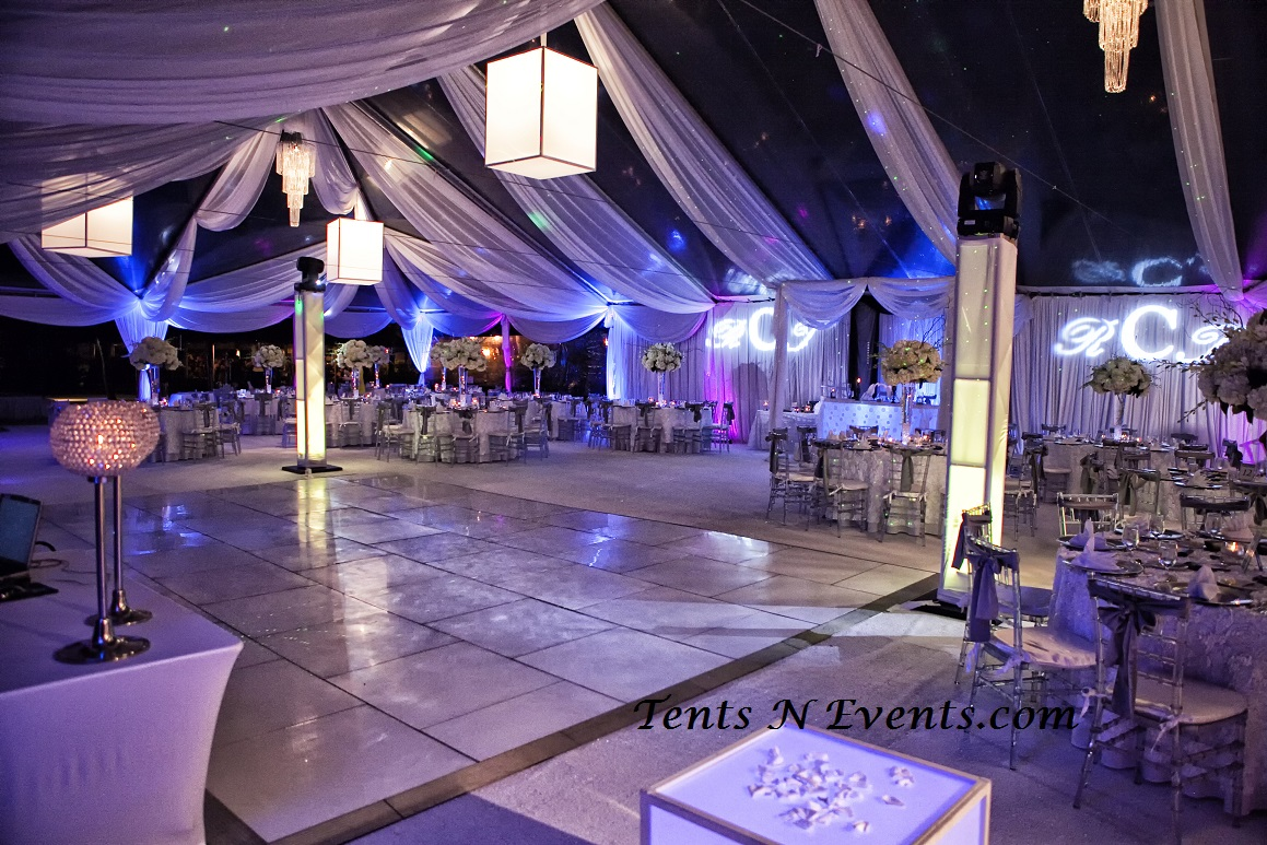 White Plexiglass Dancefloor & ClearTop Decorated Tent