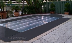 Flush Pool Cover wood and plexi