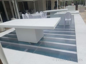 White Pool Cover With Plexi Glass Insert